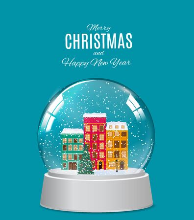 Snow glass globe with little town in winter for Christmas and New Year gift.Vector Illustration EPS10