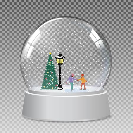 Snow glass globe with children skate in winter for Christmas and New Year gift.Vector Illustration EPS10 Vetores