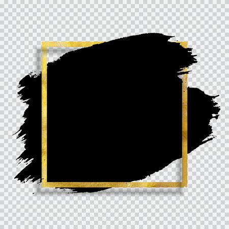 Grunge Brush paint ink stroke with square golden frame background. Vector Illustration