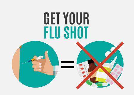Get Your Flu Shot Vaccination concept flat background. Vector Illustration