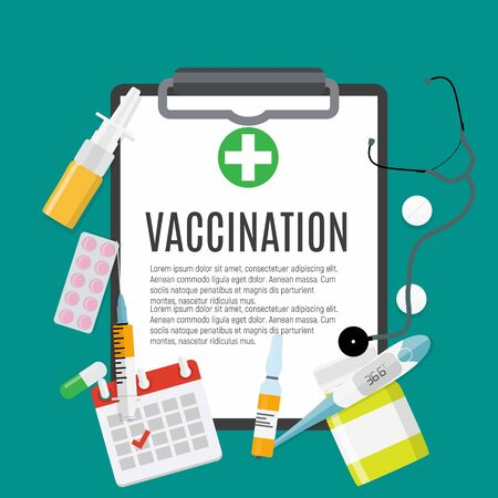 Vaccination concept flat background. Medical awareness flu, polio influenza poster. Vector Illustration