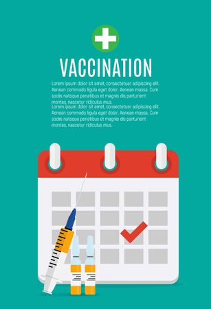 Vaccination concept flat background. Medical awareness flu, polio influenza poster. Vector Illustration Imagens - 132212915