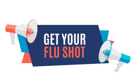 Get Your Flu Shot Vaccination concept flat background. Vector Illustration Imagens - 132213389