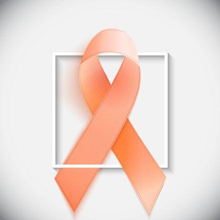 Orange Ribbon a Symbol of Leukemia. Vector Illustration EPS10