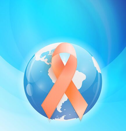 Orange Ribbon a Symbol of Leukemia. Çizim