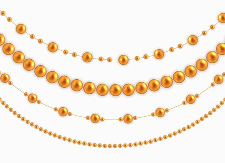 String garlands with balls , isolated on white background. Vector Illustration EPS10