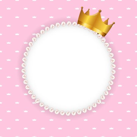 Princess Crown Background with Pearl Frame Vector Illustration. EPS10 일러스트