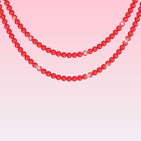 Abstract background with natural pearl garlands of beads. Vector illustration. EPS10