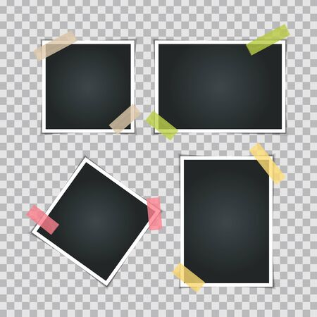Instant Photos on Transparent  Background  Vector Illustration EPS10 Иллюстрация