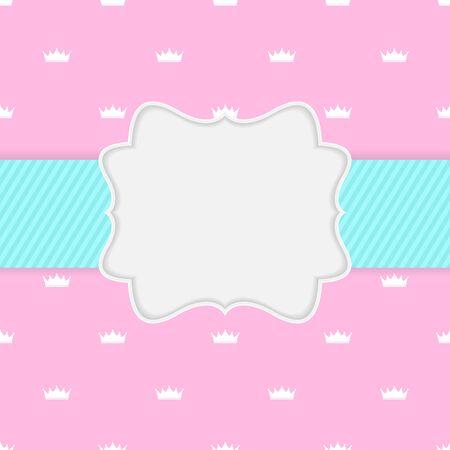 Princess Crown  Background with Frame Vector Illustration. EPS10