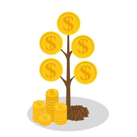 Financial concept. Money tree - symbol of successful business.  Vector Illustration