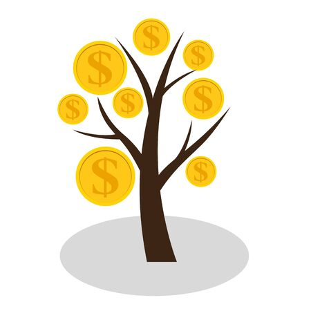 Financial concept. Money tree - symbol of successful business.  Vector Illustration EPS10