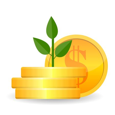 Growing money tree with Gold coins on branches icon. Symbol of wealth and Business success. Vector illustration. EPS10 Ilustração