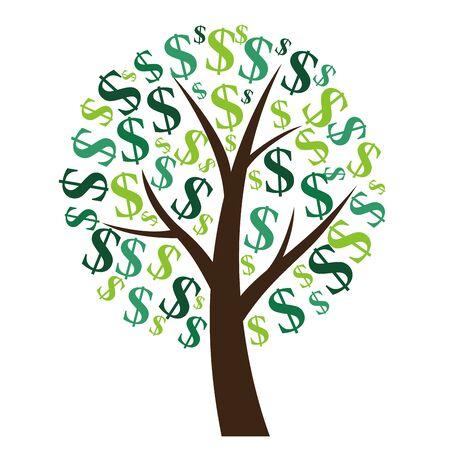 Finanzielles Konzept. Geldbaum - Symbol für erfolgreiches Geschäft. Vektor-Illustration EPS10