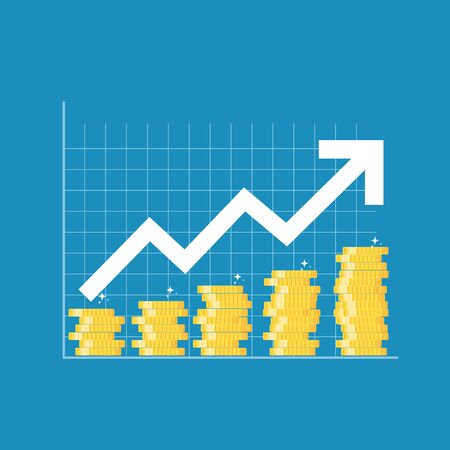 Financial growth concept. Finance performance of return on investment ROI  with arrow.  Vector Illustration