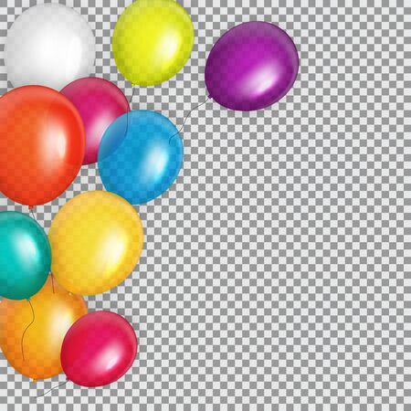 Group of Color Glossy Helium Balloons Background. Set of  Balloons for Birthday, Anniversary, Celebration  Party Decorations.