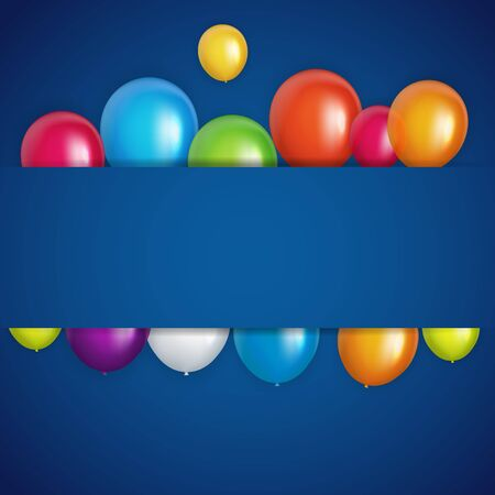 Color Glossy Happy Birthday Balloons Banner Background Vector Illustration Illusztráció