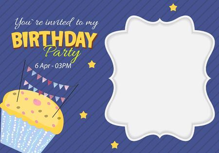 Abstract Birthday Party Invitation with Empty Place for Photo. Vector Illustration EPS10
