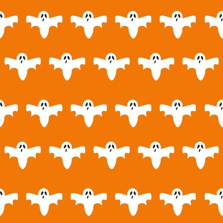 Ghost icon cute cartoon character, seamless pattern background, Vector illustration