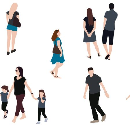 Set of People Seamless Pattern. Children, Adults, Seniors. Vector Illustration