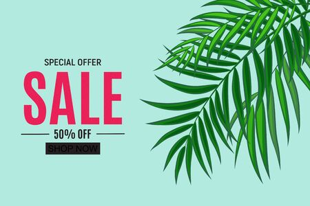 Abstract Sale Background with Palm Leaves. Vector Illustration EPS10