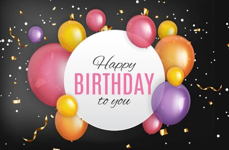 Color Glossy Happy Birthday Balloons Banner Background Vector Illustration EPS10 Standard-Bild - 139717833