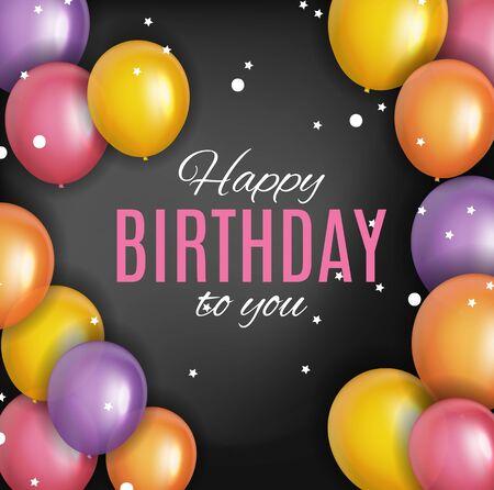 Color Glossy Happy Birthday Balloons Banner Background Vector Illustration EPS10 Standard-Bild - 139718016