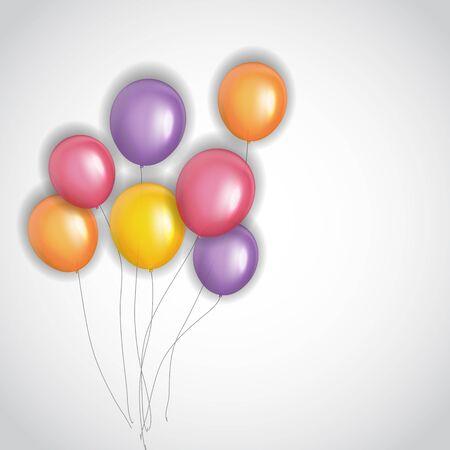 Color Glossy Happy Birthday Balloons Banner Background Vector Illustration EPS10 Standard-Bild - 139717994