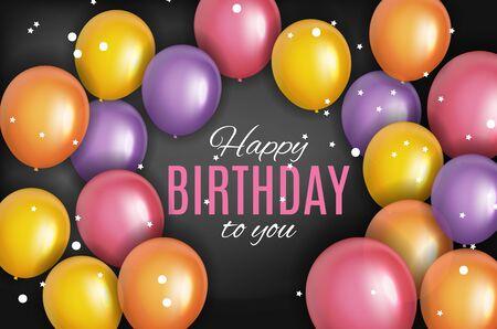 Color Glossy Happy Birthday Balloons Banner Background Vector Illustration EPS10 Standard-Bild - 139722711