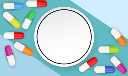 Health Medical  Background with Pills. Vector Illustration