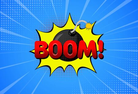 Background with Bomb in Pop Art Style. Vector Illustration EPS10 Ilustración de vector