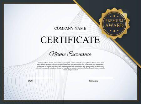 Modèle de certificat Contexte. Conception de diplôme d'attribution vierge. Illustration vectorielle EPS10 Vecteurs