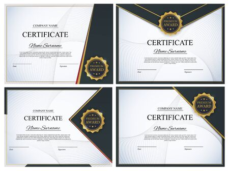 Certificate template Background Collection Set. Award diploma design blank. Vector Illustration EPS10 Vettoriali