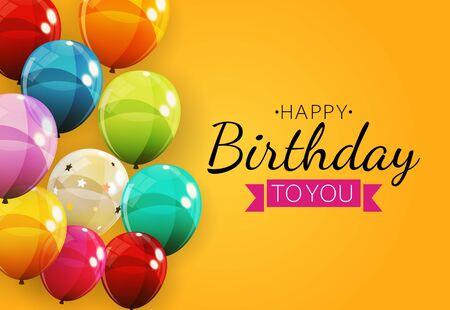 Color Glossy Happy Birthday Balloons Banner Background Vector Illustration Illustration