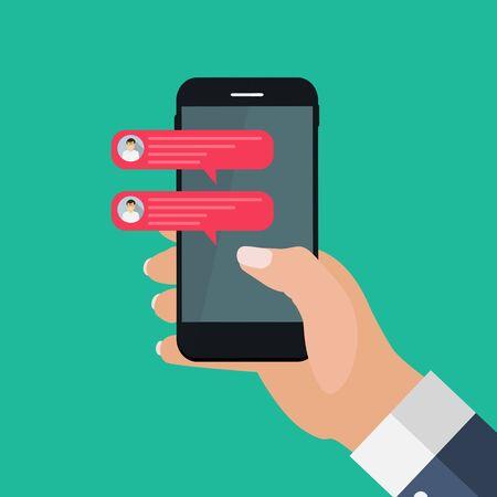 Chat message bubbles on smartphone screen, social networ concept. Vector illustration. EPS10 Vector Illustratie