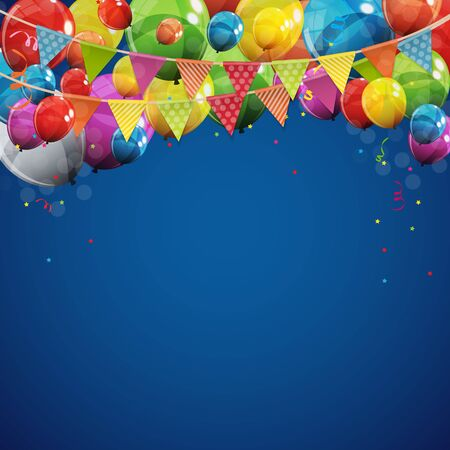 Color Glossy Happy Birthday Balloons Banner Background Vector Illustration EPS10 Vettoriali