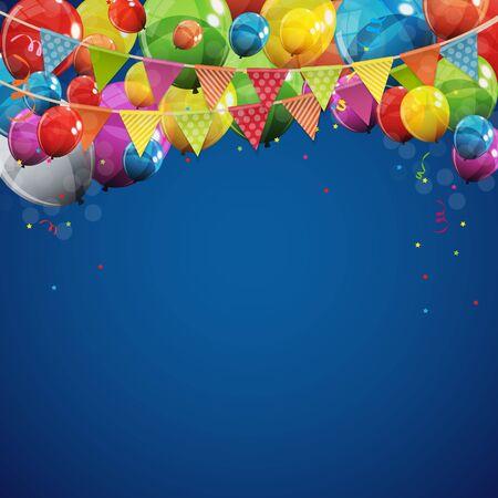 Couleur Brillant Joyeux Anniversaire Ballons Bannière Fond Illustration Vectorielle Eps10 Vecteurs
