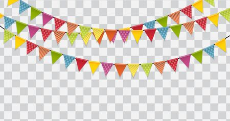 Party Flags on Transparent Background Vector Illustration. EPS10 Vector Illustration
