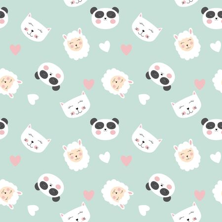 Cute animals seamless pattern background. Vector illustration EPS10