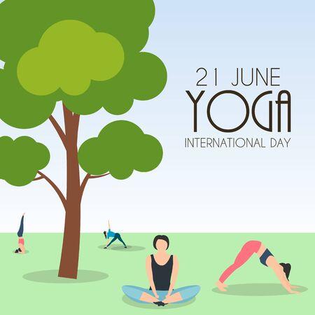 Yoga International Day 21 June Background. Vector Illustration EPS10