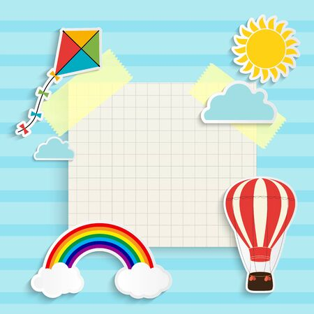 Child background with rainbow, sun, cloud, kite and balloon. Place for text. Vector Illustration EPS10