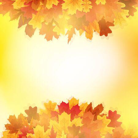 Shiny Autumn Leaves Banner Background. Vector Illustration