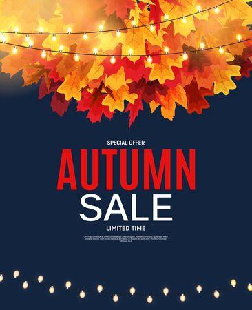 Bannière de vente de feuilles d'automne brillant. Carte de réduction d'entreprise. Illustration vectorielle EPS10