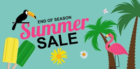 End of season Summer sale poster background.