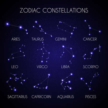 Set of 12 Zodiacal Constellations on the Background of Cosmic Sky Vector Illustration