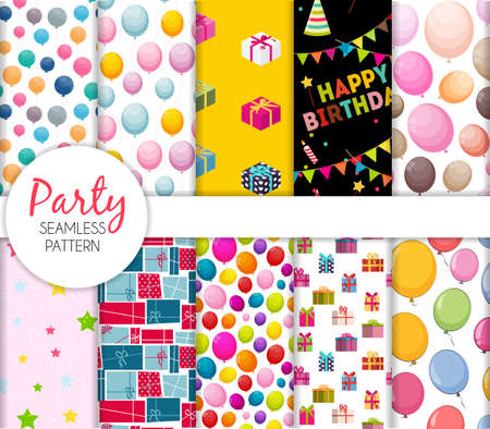 Cute Seamless Party Pattern Collection Set with balloons and gift box. Vector Illustration