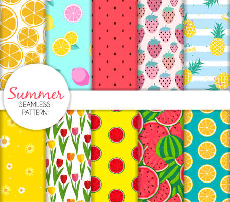 Cute Seamless Summer Pattern Collection Set Vector Illustration