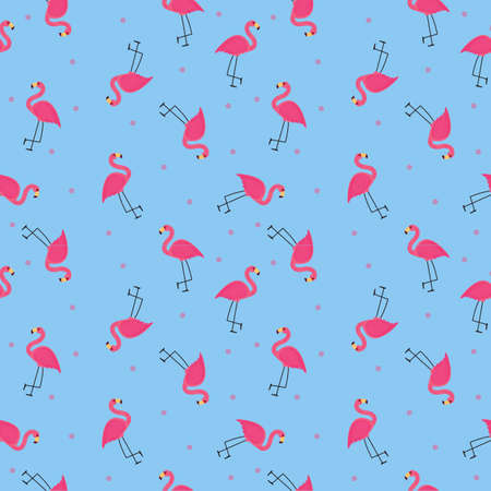 Abstract Flamingo Seamless Pattern Background. Vector Illustration