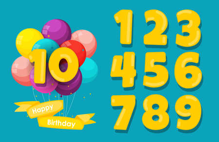 Set of happy birthday anniversary numbers congratulations, invitation background. Vector Illustration EPS10