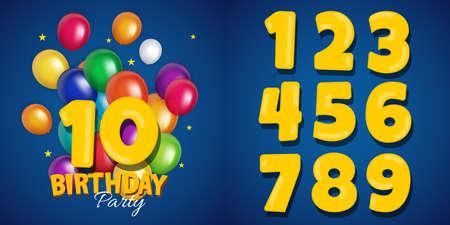 Set of happy birthday anniversary numbers congratulations, invitation background. Vector Illustration EPS10